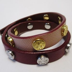 Tory Burch Double Wrap Two-Tone Leather Bracelet